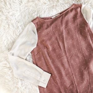LOFT cream+rose polkadot boatneck lightweight top